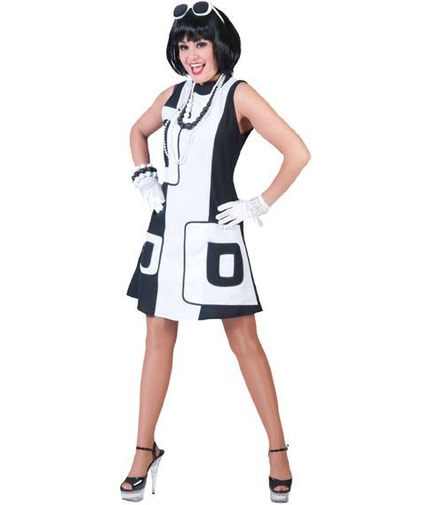 Sort og hvid 60er kjole