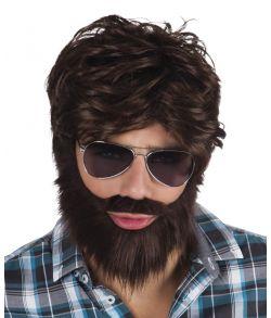Brun paryk med skæg