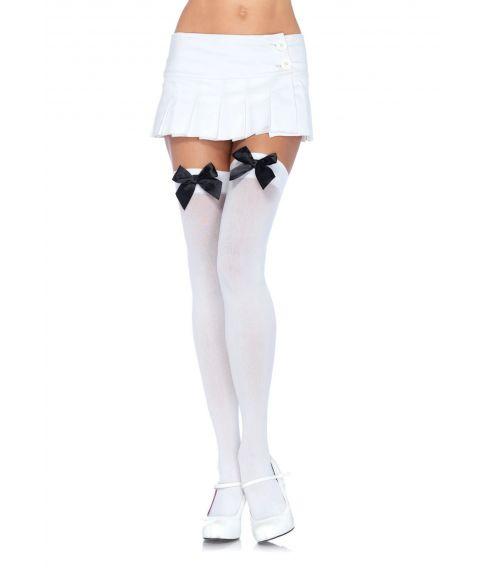 Hvide stockings med sløjfe