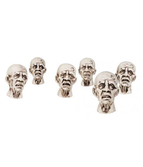 Zombie hoveder 6 stk