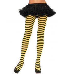 Sort og gul stribede strømpebukser.