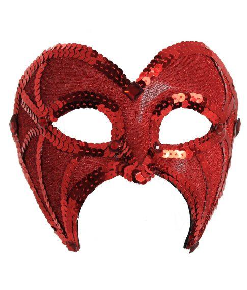 Rød halvmaske med glimmer