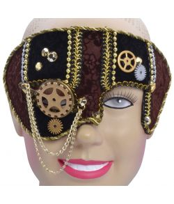 Steam Punk halvmaske, brun