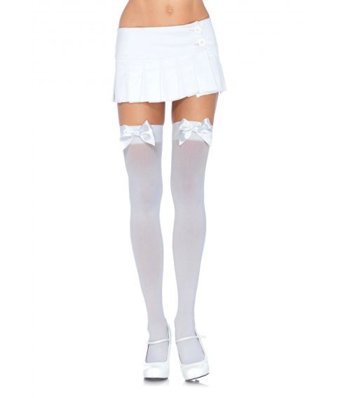 Hvide strømper med sløjfe, XL