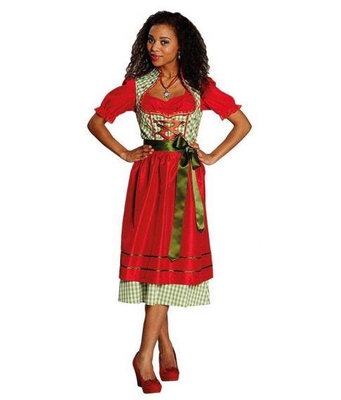 Dirndl kjole, rød og grøn