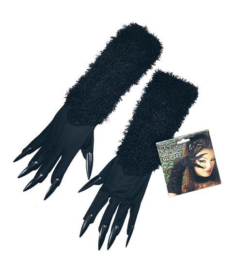 Sorte handsker med kløer