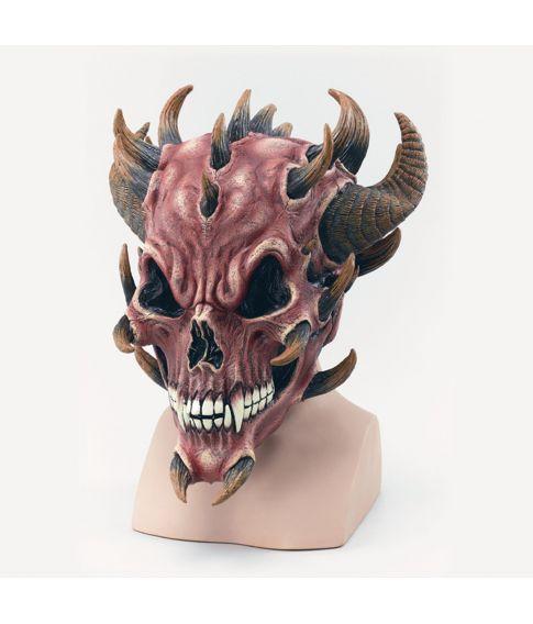 Rød Djævlekranie maske