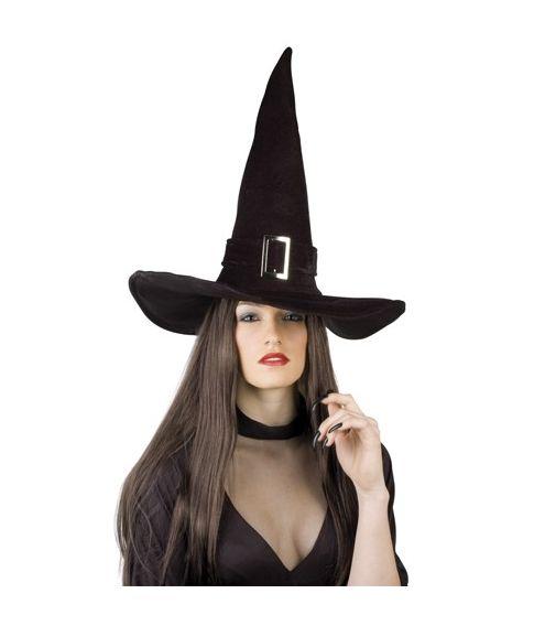 Høj sort heksehat med spænde.