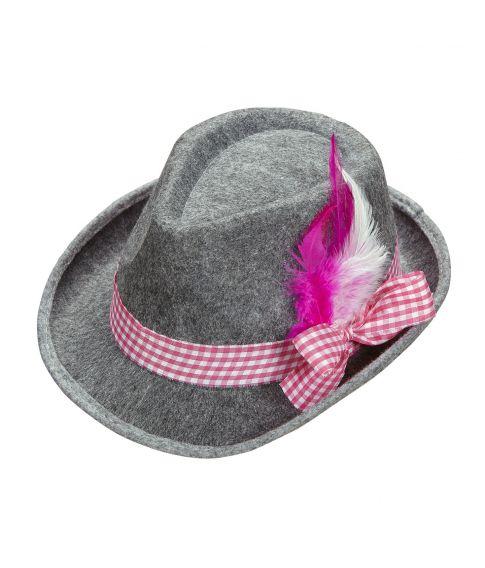 Tyrolerhat med pink bånd