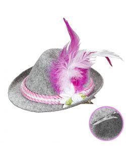 Mini tyrolerhat med pink fjer