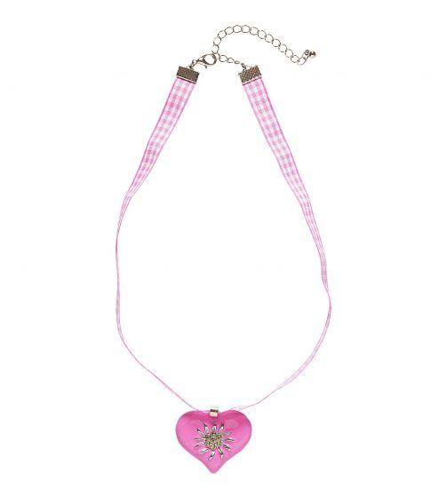 Pink hjertehalskæde