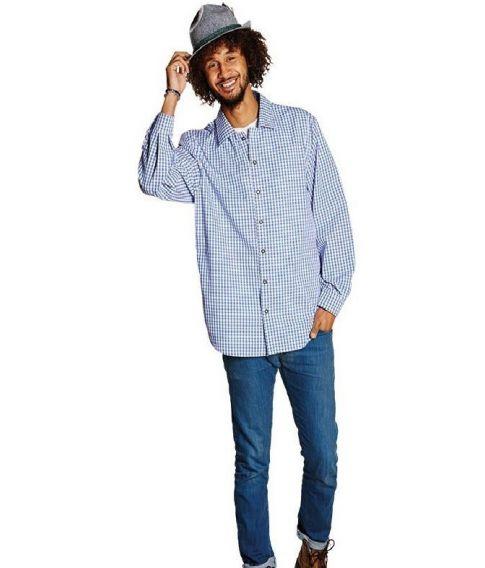 Blå og hvid ternet tyrolerskjorte