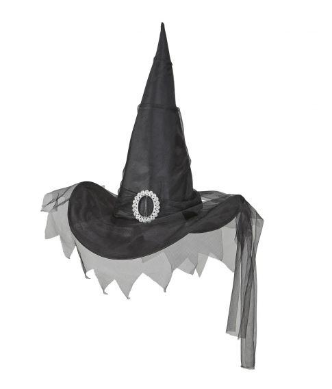 Sort heksehat med tyl