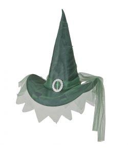 Grøn heksehat med tyl