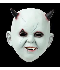 Baby med horn maske