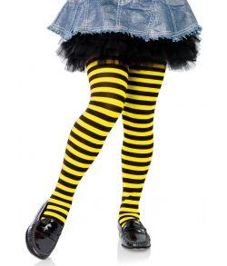 Sort og gul stribet strømpebukser