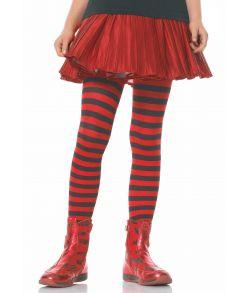Sort og rød stribet strømpebukser
