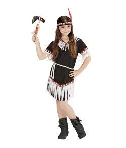 Sort Indianer pige kostume