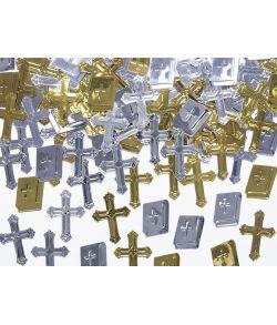 Konfetti kors og bibel guldsølv