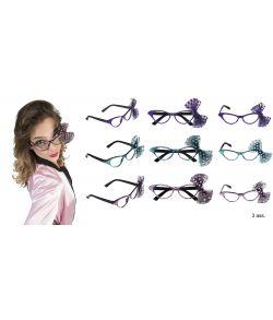 Briller med sten og sløjfe