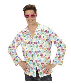 Sjov hippie skjorte i hvid med blomstret mønster