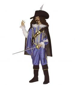 Blåt Musketer kostume til børn