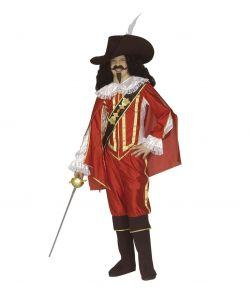 Rødt Musketer kostume til børn