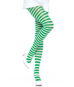 Grøn og hvid stribede strømpebukser