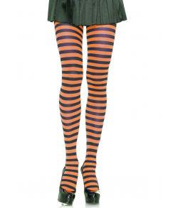 Sort og orange stribede strømpebukser