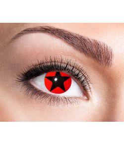 Rød party linse med sort stjerne