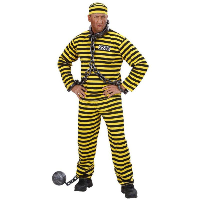 Sort og gul fangedragt kostume