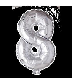 8 år Folie tal ballon sølv 41 cm