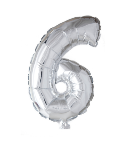 6 år Folie tal ballon sølv