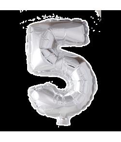 5 år Folie tal ballon sølv