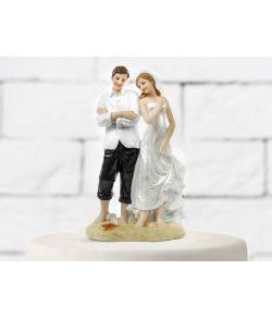Topfigur Nygifte på strand 15,5 cm