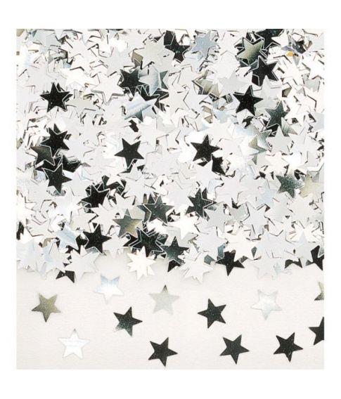 Sølv stjernekonfetti