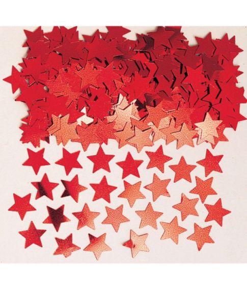 Rødt stjernekonfetti