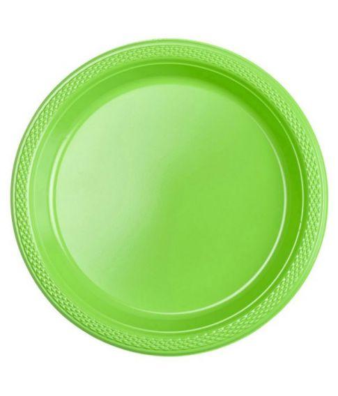 Kiwigrønne plastik tallerkner 17,7cm