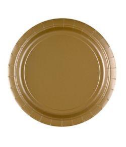 8 stk billige guld farvede paptallerkner.