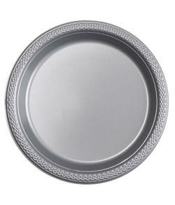 Sølv plastik tallerkner 17,7 cm