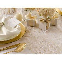 Hvid Organza med guldmønster