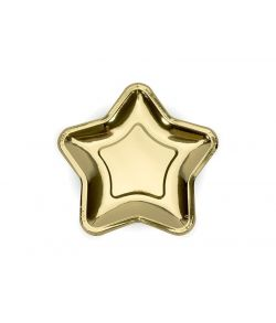 Stjerne paptallerkner guld 6 stk