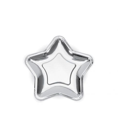 Stjerne paptallerkner sølv 6stk