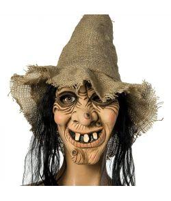 Heksemaske med hår og hat