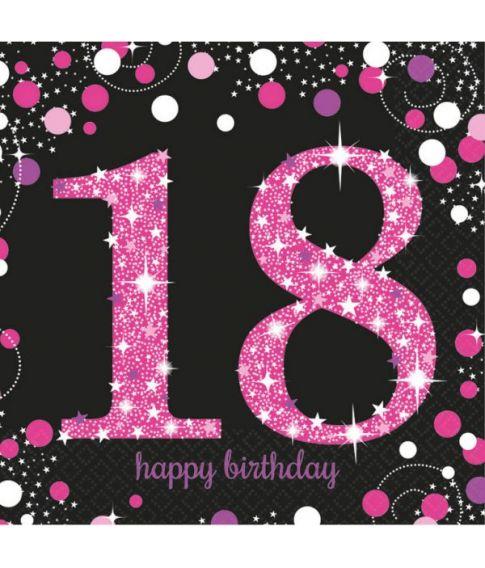 Flotte pink servietter til 18 års fødselsdag.