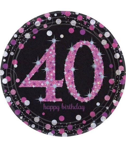Flotte pink tallerkner til 40 års fødselsdag.