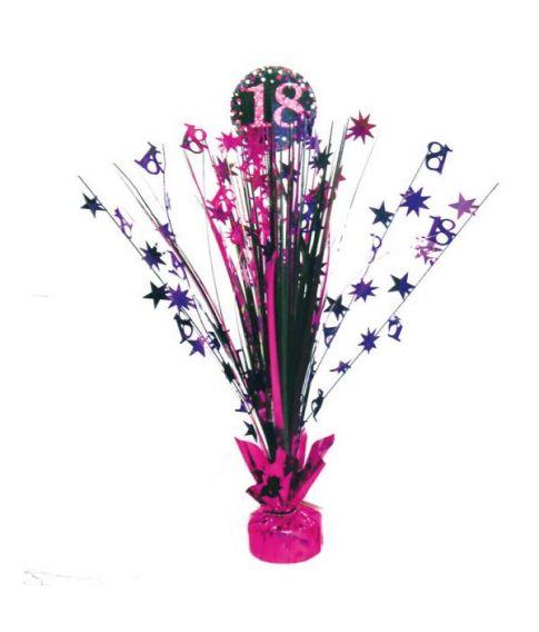 Flot pink bordpynt til 18 års fødselsdag.