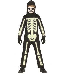 Selvlysende skelet kostume til drenge.