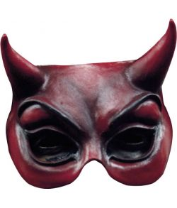 Djævle halvmaske, rød i latex