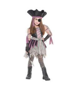Uhyggeligt hjemsøgt pirat kostume til piger